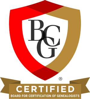 Board Certified Genealogist (BCG certificate no. 1131)